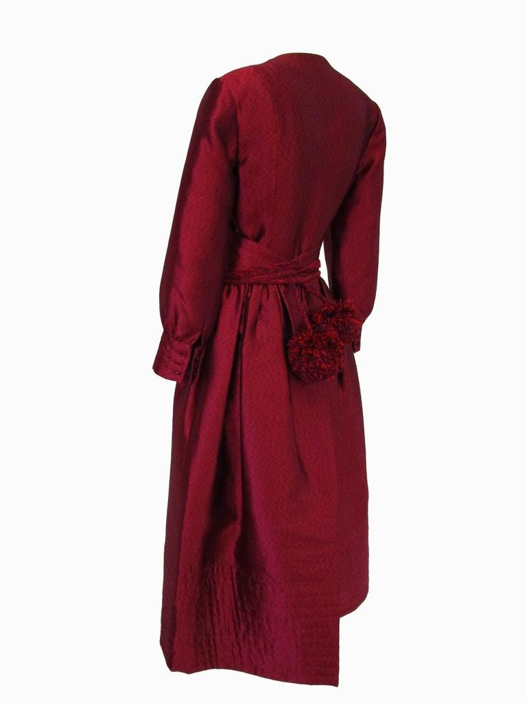 1970s Geoffrey Beene Raspberry Iridescent Silk Evening Dress W/ Pom-pom Belt  For Sale 1