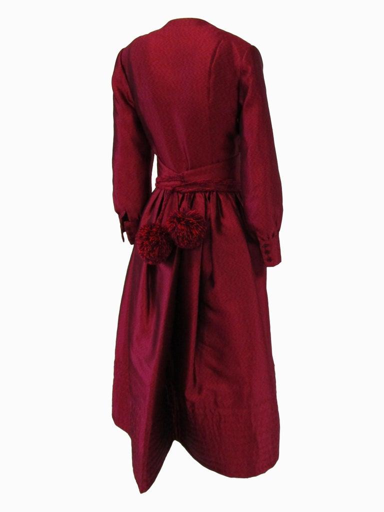 1970s Geoffrey Beene Raspberry Iridescent Silk Evening Dress W/ Pom-pom Belt  For Sale 2