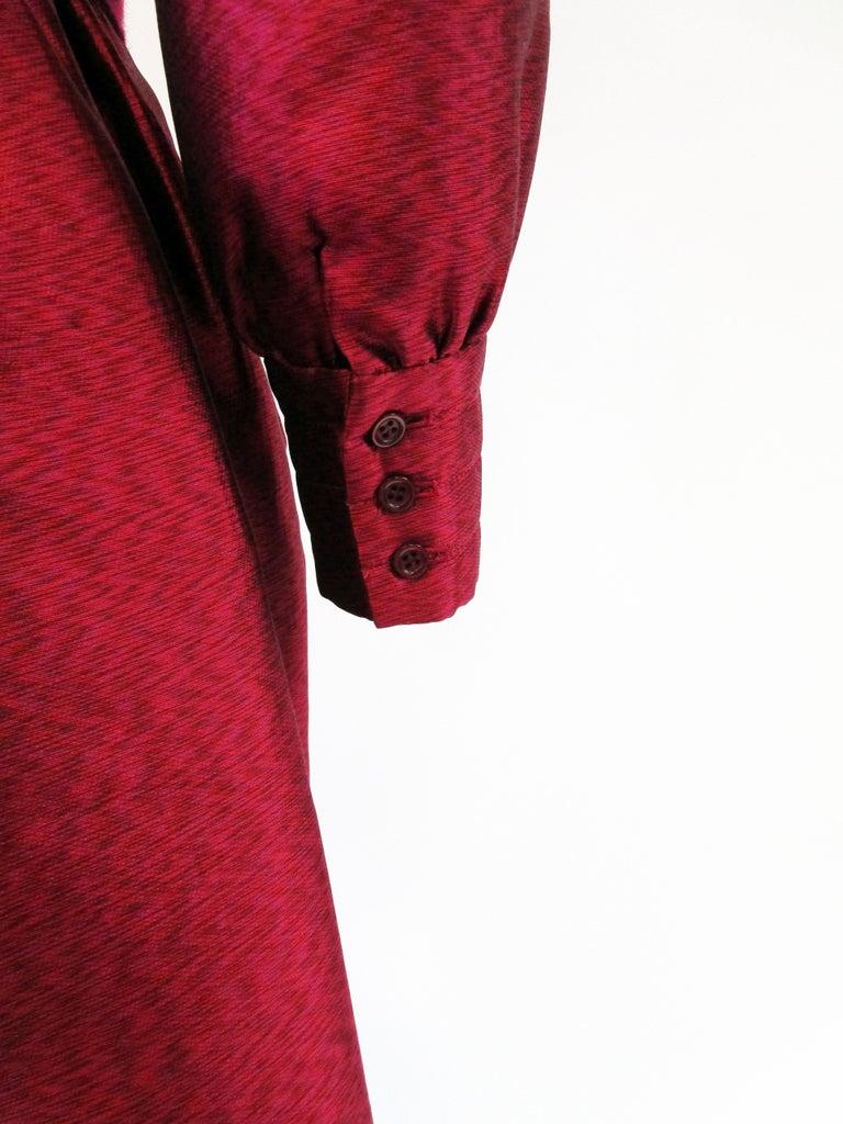 1970s Geoffrey Beene Raspberry Iridescent Silk Evening Dress W/ Pom-pom Belt  For Sale 3