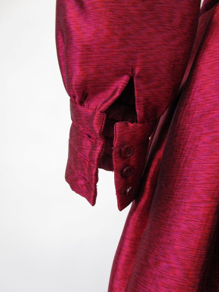 1970s Geoffrey Beene Raspberry Iridescent Silk Evening Dress W/ Pom-pom Belt  For Sale 4