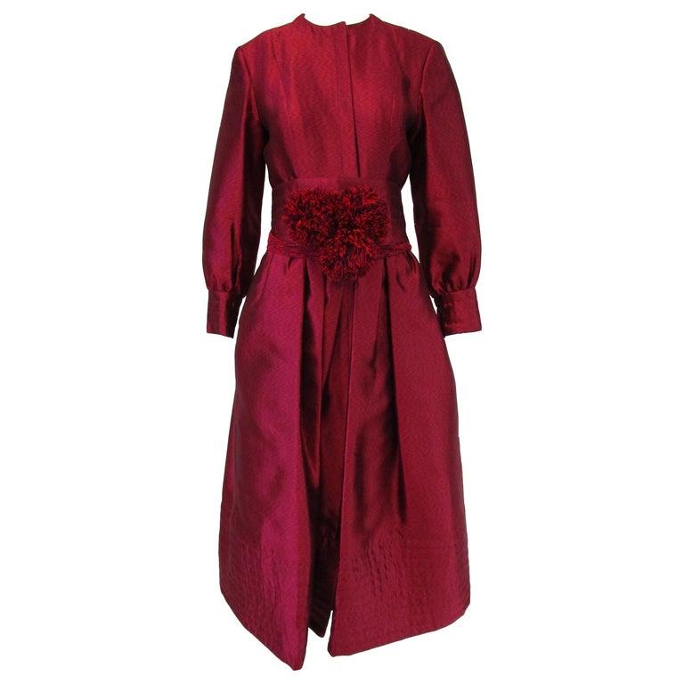 1970s Geoffrey Beene Raspberry Iridescent Silk Evening Dress W/ Pom-pom Belt  For Sale
