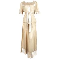 1970's GEOFFREY BEENE silk blouse & skirt ensemble with metallic gold thread