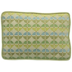 1970s Geometric Blue and Green Needlepoint Pillow with Linen Backing