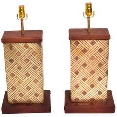 1970s Geometric Bronze Leather Tie & Wood Table Lamps Luis Barragan Modernism