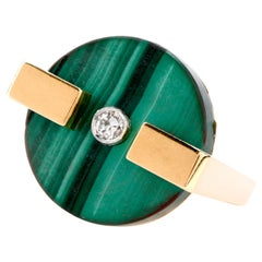 1970s Geometric Diamond Malachite 18 Karat Gold Cocktail Ring