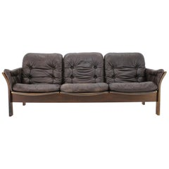 1970s Georg Thams 3-Seat Sofa in Dark Brown Leather, Denmark