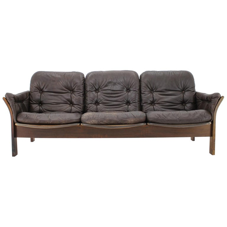 1970s Georg Thams 3-Seat Sofa in Dark Brown Leather, Denmark For Sale