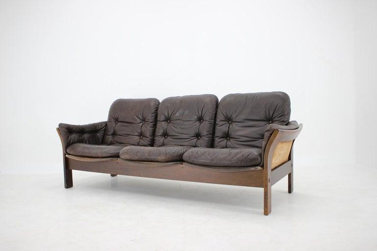 Mid-Century Modern 1970s Georg Thams 3-Seat Sofa in Dark Brown Leather, Denmark For Sale