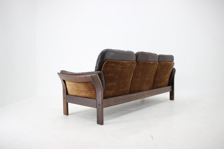1970s Georg Thams 3-Seat Sofa in Dark Brown Leather, Denmark For Sale 1