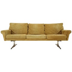1970s Georg Thams 3-Seat Sofa in Suede Leather, Denmark