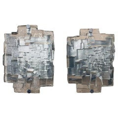 1970s German Abstract Geometric Glass Wall Lights, 5 Available
