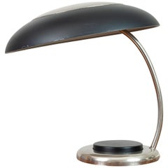 1970s German Black and Chrome Canopy Desk Lamp