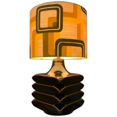 1970s German Cari Zalloni 'Facette' Dark Brown Ceramic Table Lamp for Steuler