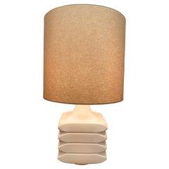 1970s German Cari Zalloni for Steuler 'Facette' Pale Pink Table Lamp Inc Shade