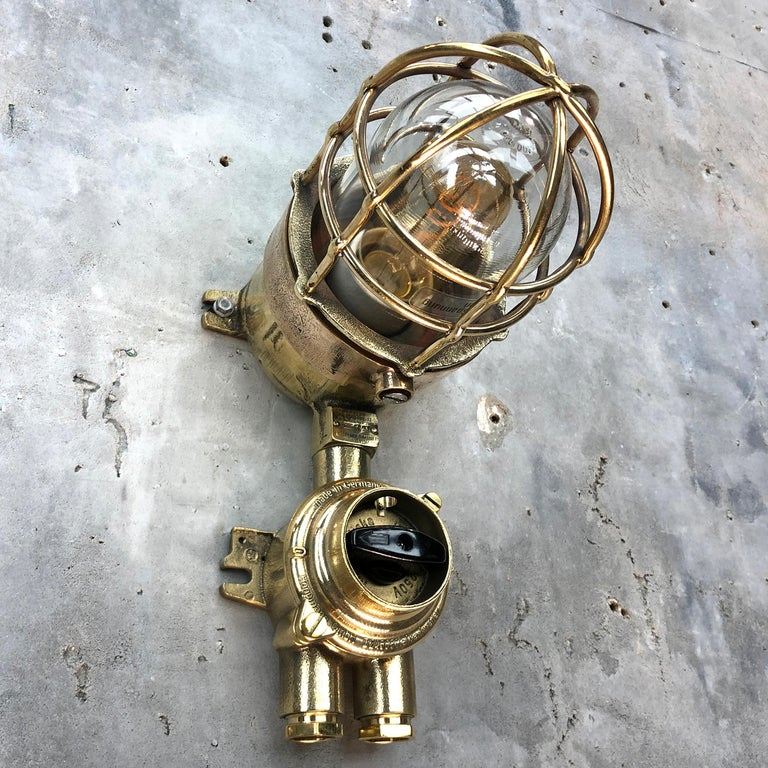 1970s German Cast Brass Explosion Proof Wall Light Glass Shade and Rotary Switch For Sale 5