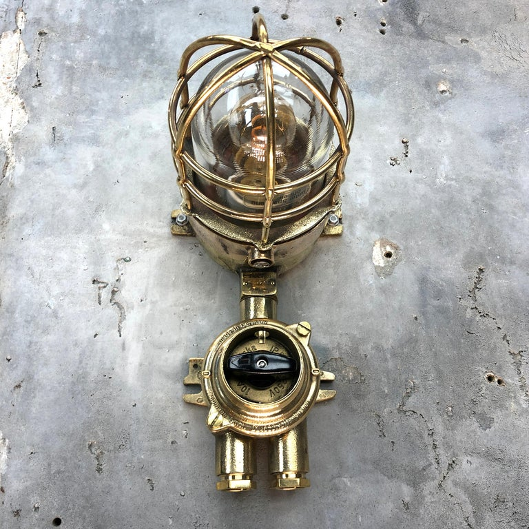 1970s German Cast Brass Explosion Proof Wall Light Glass Shade and Rotary Switch For Sale 6