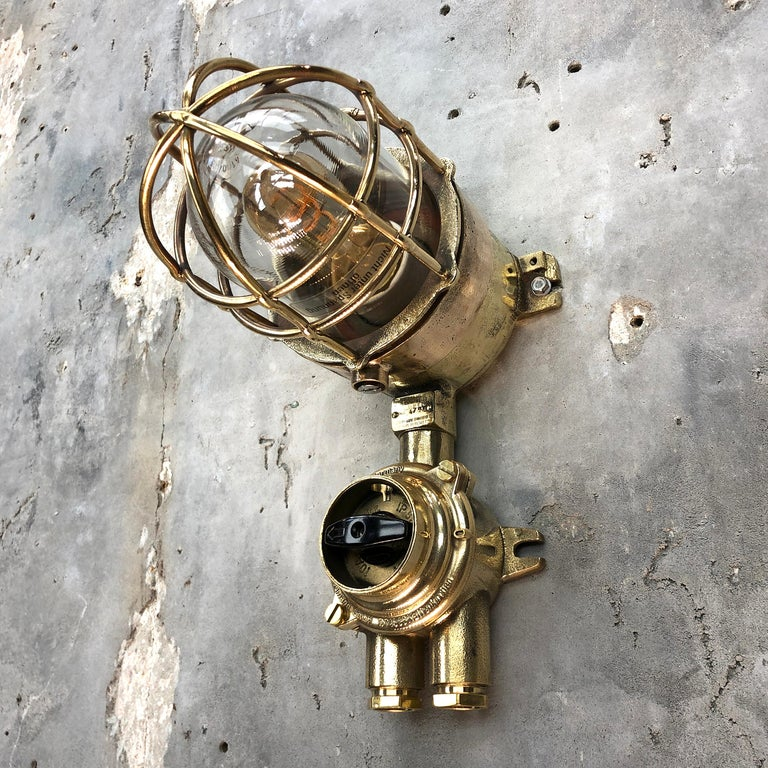 1970s German Cast Brass Explosion Proof Wall Light Glass Shade and Rotary Switch For Sale 7