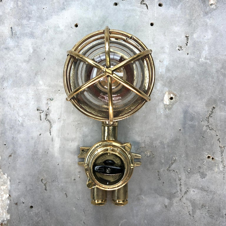 Industrial 1970s German Cast Brass Explosion Proof Wall Light Glass Shade and Rotary Switch For Sale