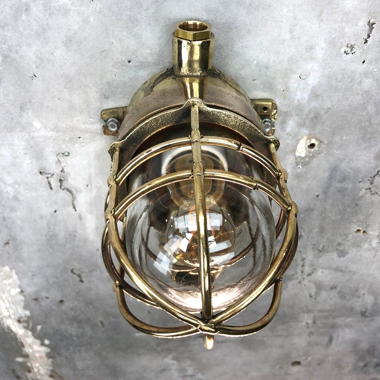 1970s German Cast Brass Explosion Proof Wall Light Glass Shade and Rotary Switch For Sale 2