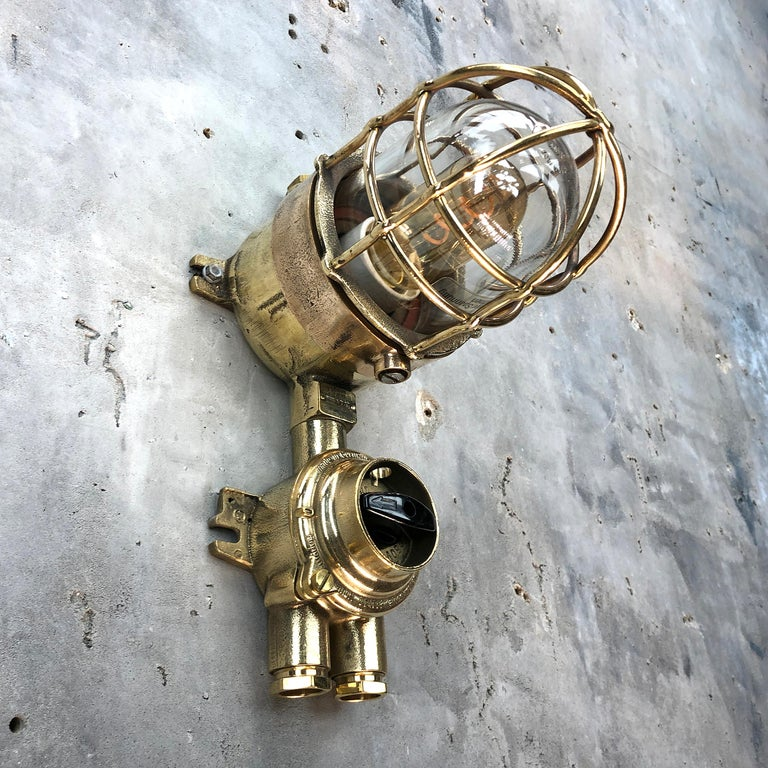 1970s German Cast Brass Explosion Proof Wall Light Glass Shade and Rotary Switch For Sale 4