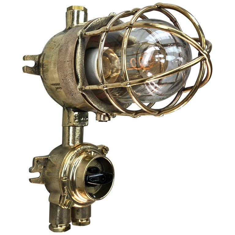 1970s German Cast Brass Explosion Proof Wall Light Glass Shade and Rotary Switch For Sale