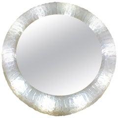 1970s German Circular Illuminated Resin Framed Adjustable Wall Mirror