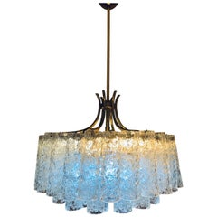 1970s German Doria Brass and Glass Chandelier