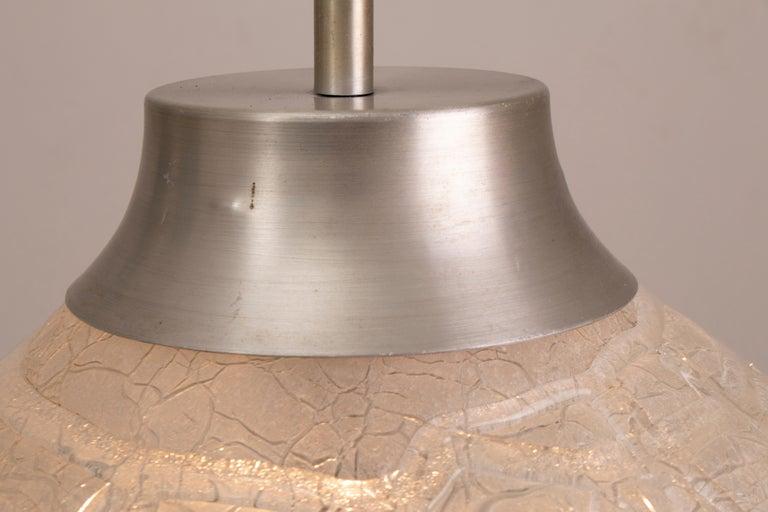Blown Glass 1970s German Doria Leuchten Crackle Glass Bulbous Pendant Light For Sale