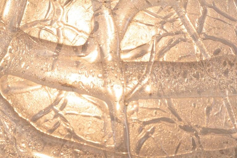 1970s German Doria Leuchten Crackle Glass Bulbous Pendant Light For Sale 3
