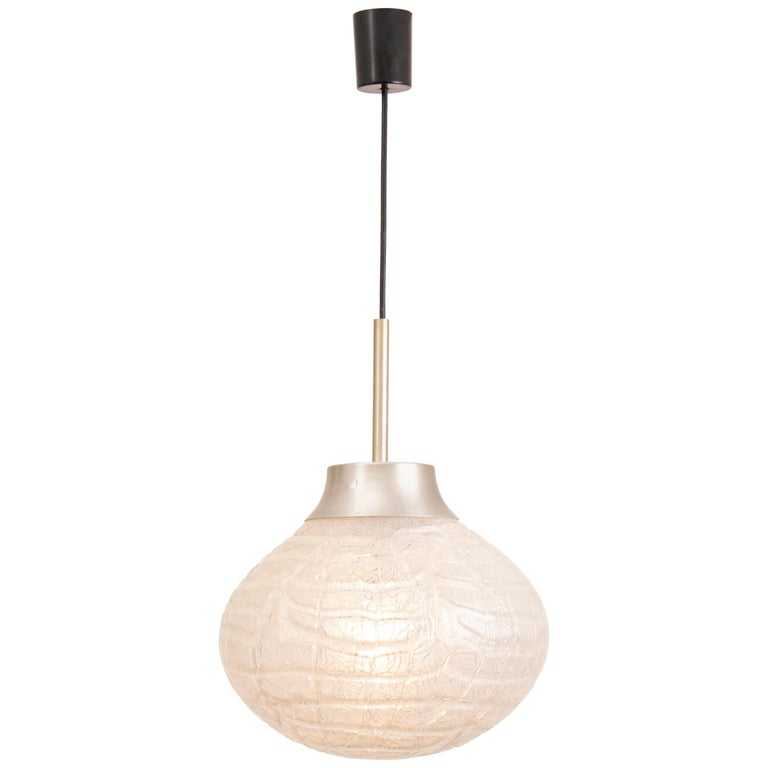 1970s German Doria Leuchten Crackle Glass Bulbous Pendant Light For Sale