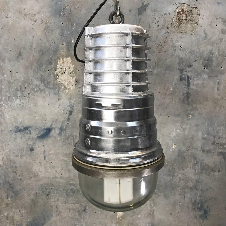 1970s, German EOW Cast Aluminium Explosion Proof Pendant Tempered Glass Dome E40 For Sale 5