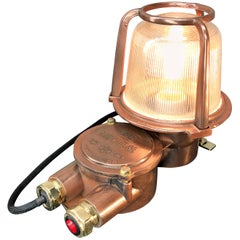 1970s German EOW GDR Copper, Brass and Holophane Glass Wall Light / Table Lamp