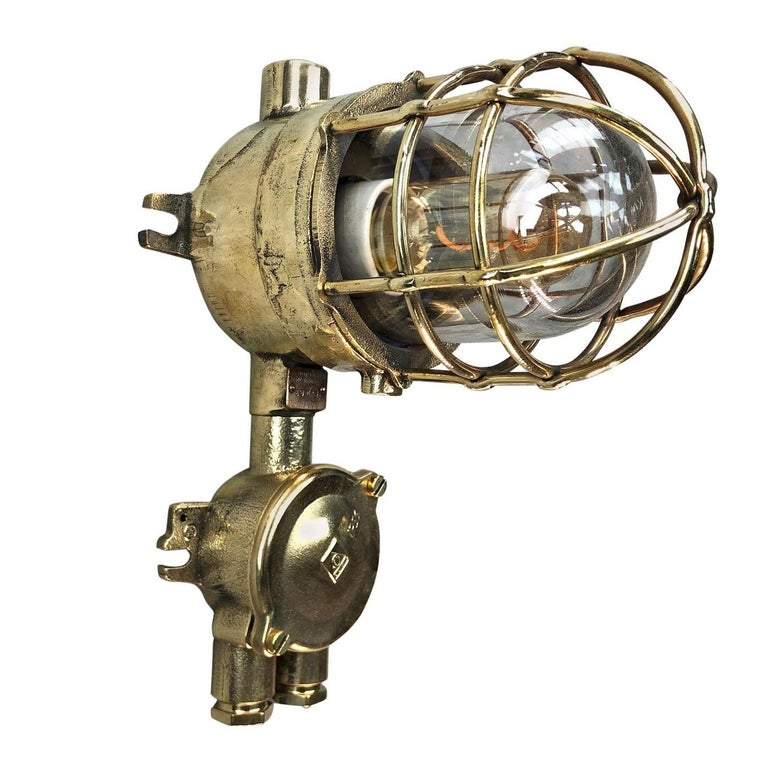 1970s German Explosion Proof Cast Brass and Junction Box Outdoor Wall Light For Sale