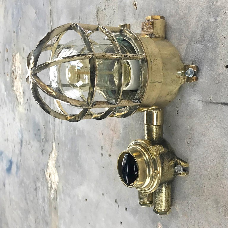1970s German Explosion Proof Wall Light Cast Brass, Glass Shade & Rotary Switch For Sale 5