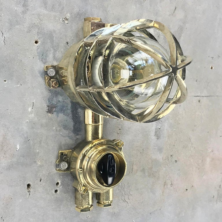 1970s German Explosion Proof Wall Light Cast Brass, Glass Shade & Rotary Switch For Sale 8