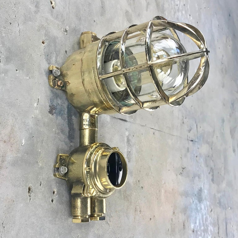 1970s German Explosion Proof Wall Light Cast Brass, Glass Shade & Rotary Switch For Sale 9