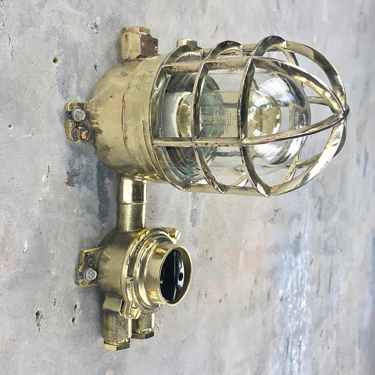 1970s German Explosion Proof Wall Light Cast Brass, Glass Shade & Rotary Switch For Sale 2
