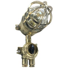 1970s German Explosion Proof Wall Light Cast Brass, Glass Shade & Rotary Switch