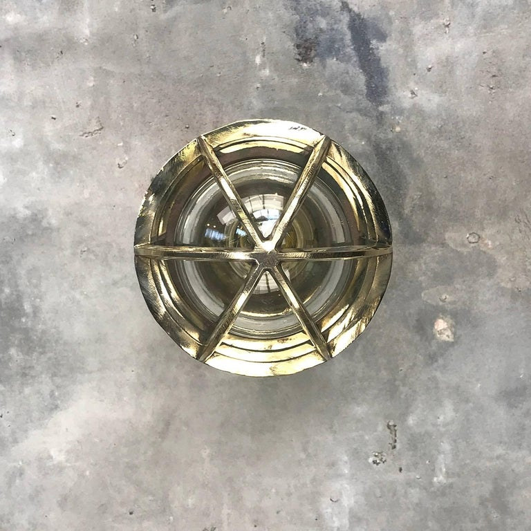 1970s German Explosion Proof Wall Light Cast Bronze, Brass, Glass Shade & Cage In Excellent Condition For Sale In Leicester, Leicestershire