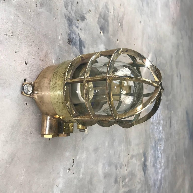 Late 20th Century 1970s German Explosion Proof Wall Light Cast Bronze, Brass, Glass Shade & Cage For Sale