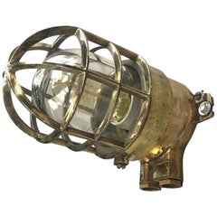 1970s German Explosion Proof Wall Light Cast Bronze, Brass, Glass Shade & Cage