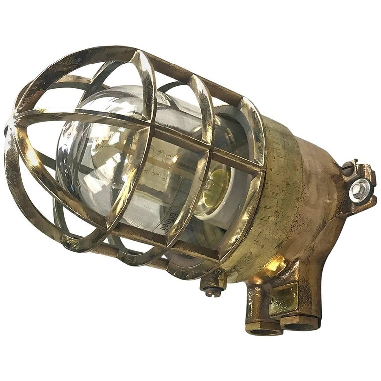 1970s German Explosion Proof Wall Light Cast Bronze, Brass, Glass Shade & Cage For Sale