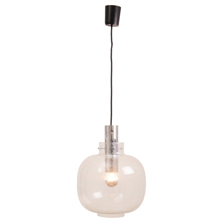 1970s German Glashütte Limburg Bubbled Glass and Chrome Pendant Hanging Light