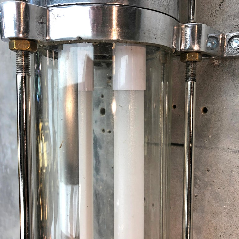 1970s German Industrial Cast Aluminium & Glass Explosion Proof LED Strip Light For Sale 5