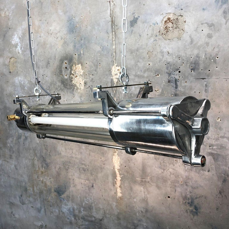 1970s German Industrial Cast Aluminum and Glass T8 Explosion Proof Striplight For Sale 14
