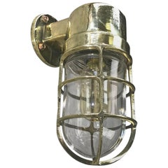 1970s German Industrial Cast Brass 90 Degree Wall Light Glass Dome and Cage
