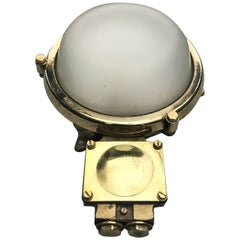 1970s German Industrial Cast Brass Circular Wall Light, Frosted Glass Shade