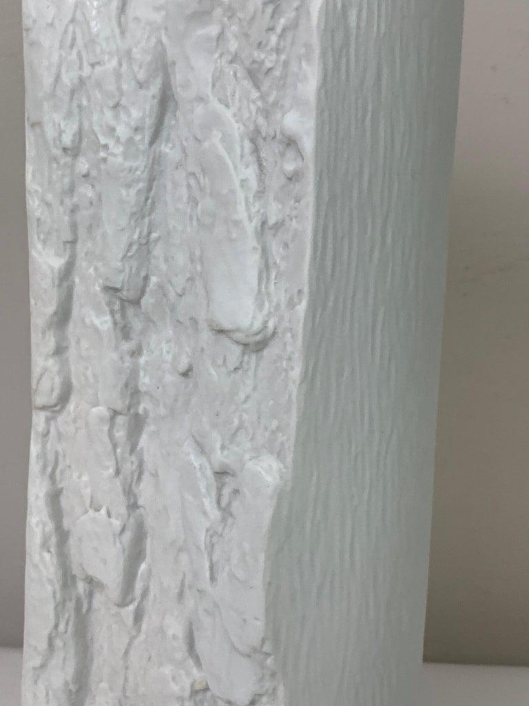 1970s German Op Art 'Bark' Matt White Bisque Porcelain Bareuther Vase For Sale 2