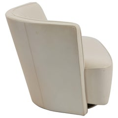 1970s German Pair of  Walter Knoll Drift Chairs in White Leather