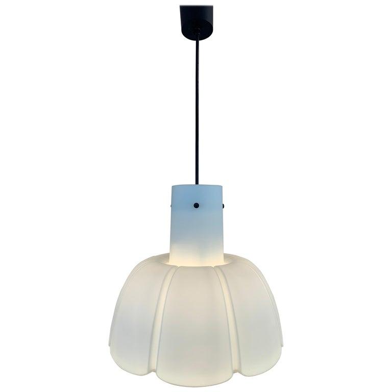 "1970s German Peill & Putzler Opaline ""Flower"" Pendant hanging Ceiling Light For Sale"